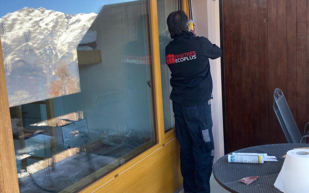 Remplacement de fenêtres plaxé faux bois dans un appartement à La Tzoumaz